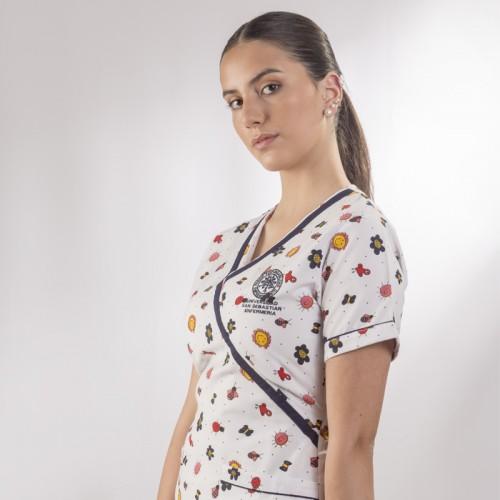 Delantal enfermera estampado, múltiples tallas